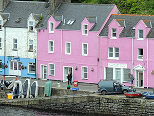 a pink building