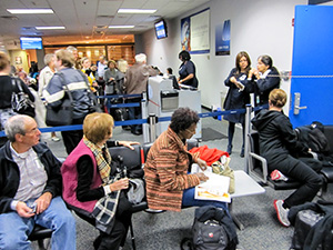 people awaiting a delayed flight
