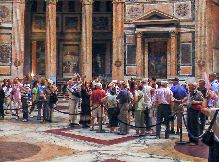 people in the Pantheon, one of the top places to see in Rome