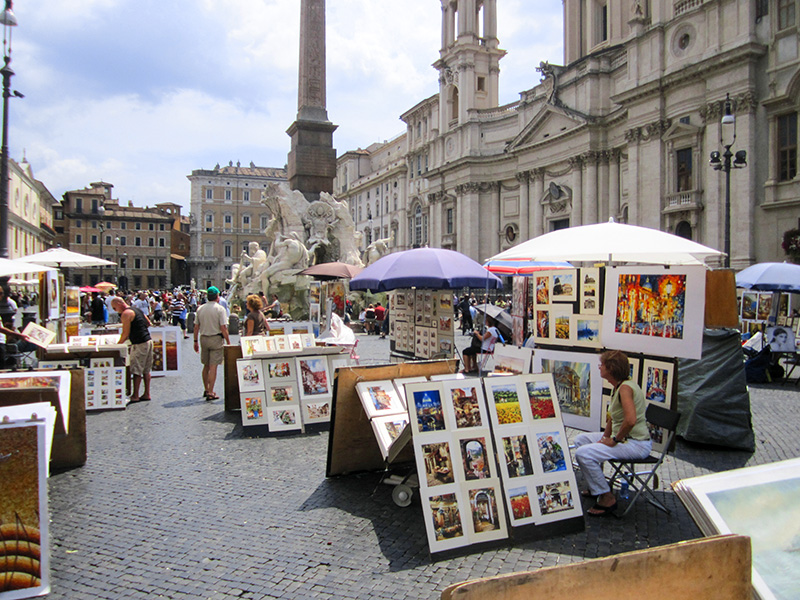 artists selling paintings in the Piazza Novana