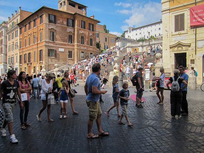 people at teh Spanish Steps, one of the top things to see in Rome