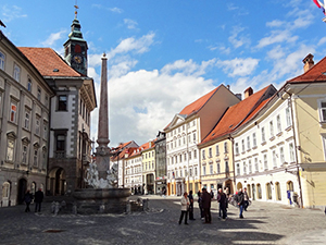 A city square in Ljubljana, one of the best Eastern European cities