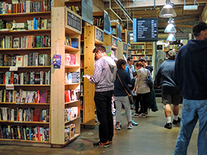 people in a book store