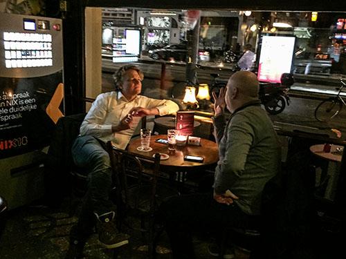 two men in an Amsterdam pub, one of my hidden gems in Amsterdam