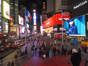 people visiting Times Square, a good thing to do in New York in the winter