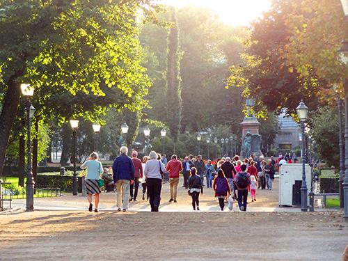 people walking in a park