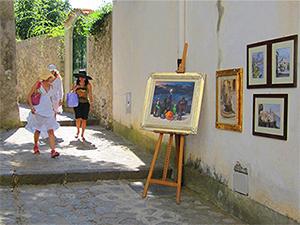 paintings outside a store on the Amalfi Coast