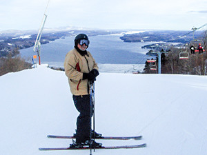 a skier at rest
