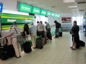 a car rental counter