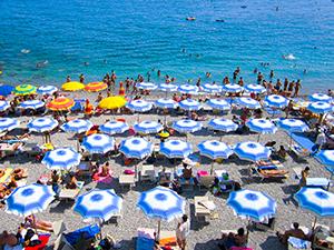umbrella on a beach on the Amalfi Coast
