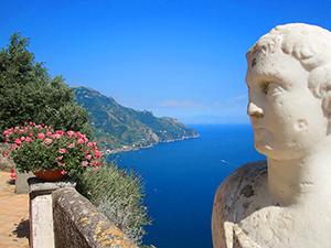 a bust on a terrace