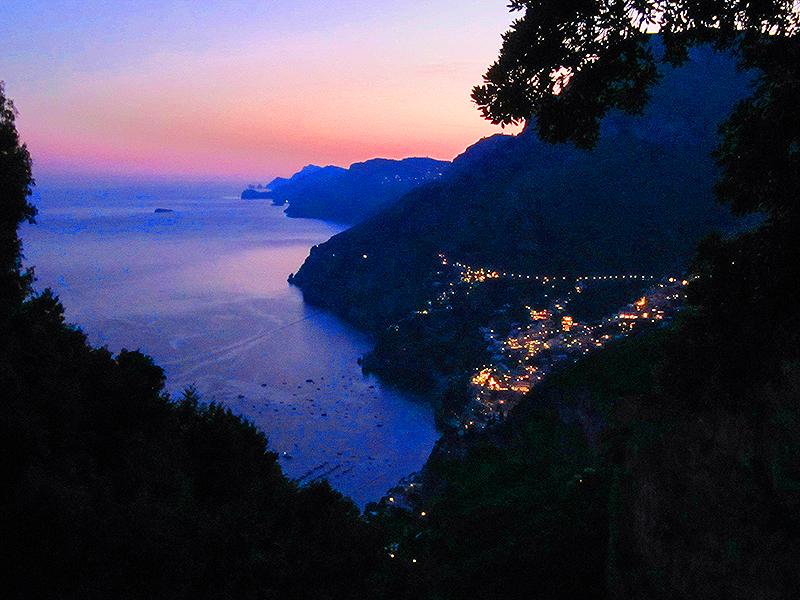 Dusk on one of the Amalfi Coast towns