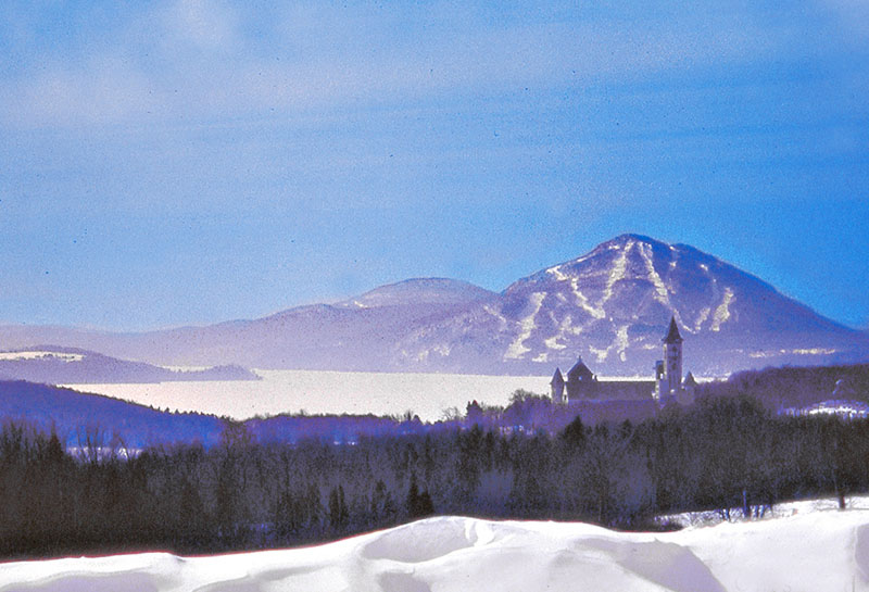 a castle and a mountain in the  Eastern Townships of Quebec