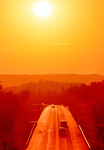 A highway at sunset