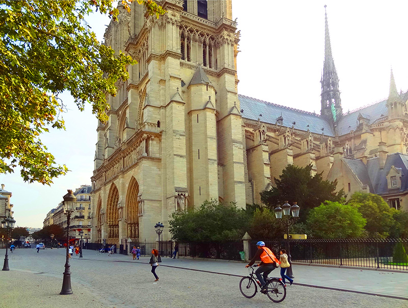 A bicyclist near Nortre Dame, of the top 10 sightseeing places in Paris