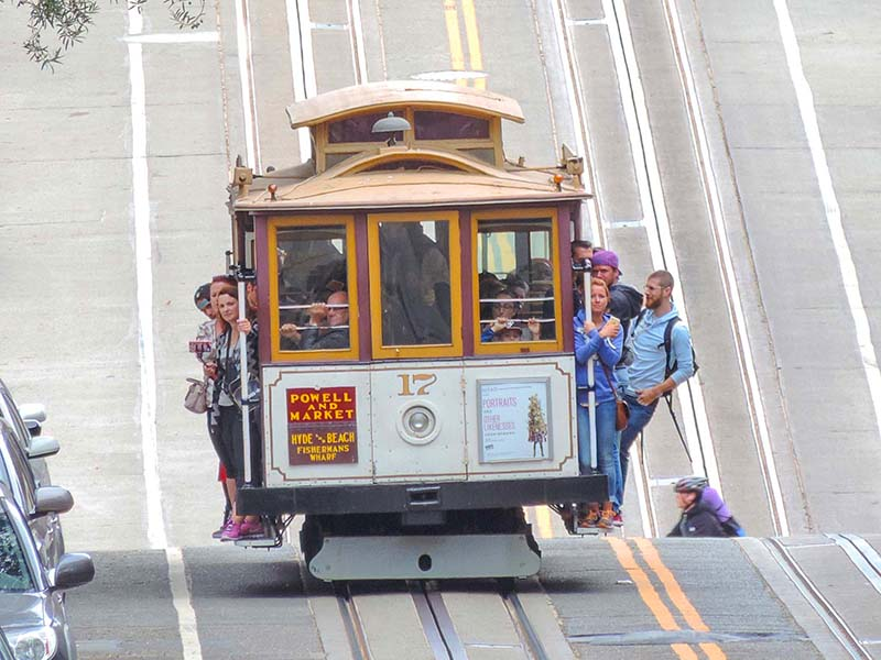 people on a cable car, a good way to spend 3 days in San Francisco