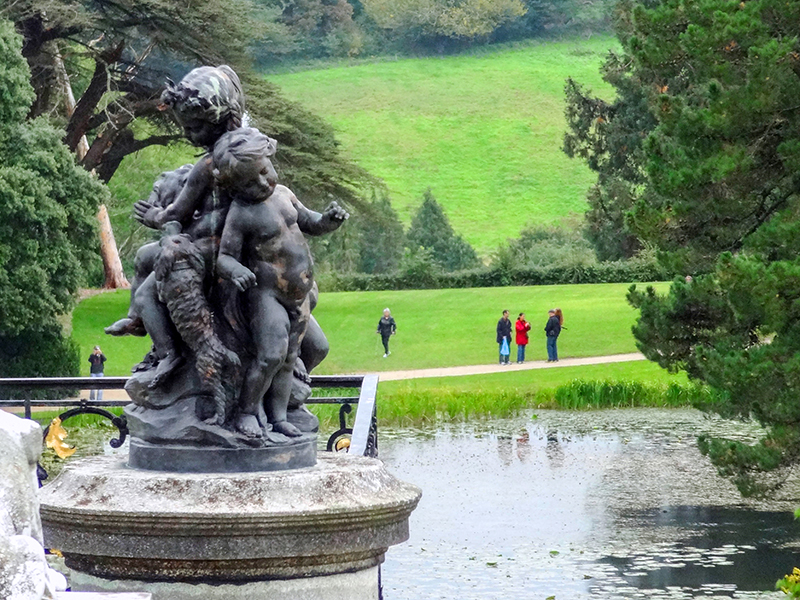 a statue in formal gardens in Ireland