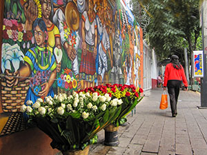 murals on a wall in Mexico City