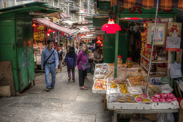 A market street in Hong Kong / photo: Peter Thoeny Flickr