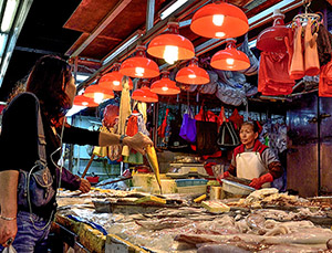 woman in a fish market