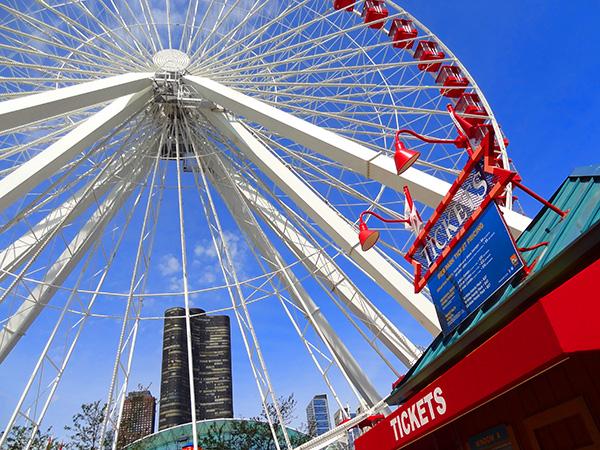 a ferris wheel in Chicago