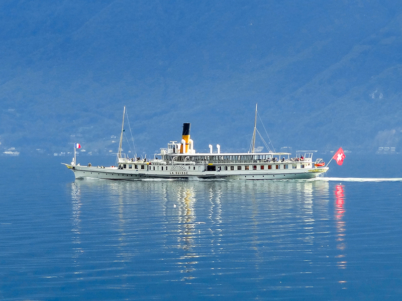 a steamer on Lake Geneva, one of the best places to visit in Switzerland