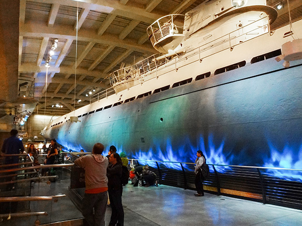 a submarine in a museum