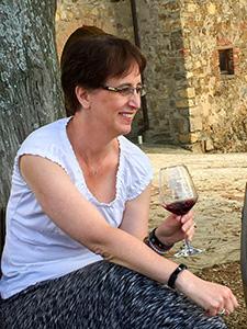 Annie tasting wine at Poggio al Sole / photo: Tony Tedeschi
