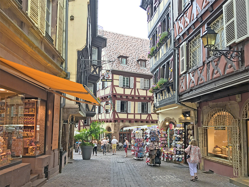 the half-timbered houses in Colmar in Alsace