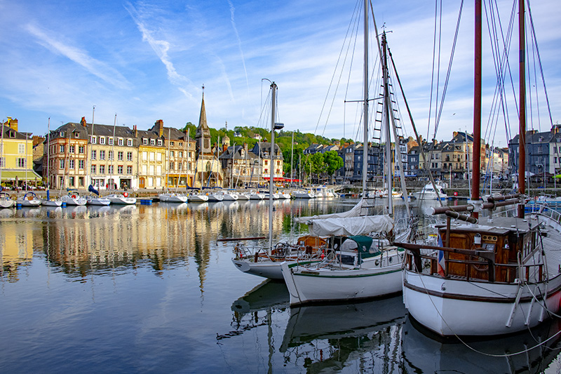 yachts in a harbor in Normany, one of France's top places