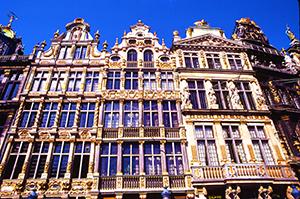 ornate building facades in Antwerp