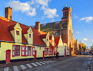 colorful buildings on an old street in Belgium