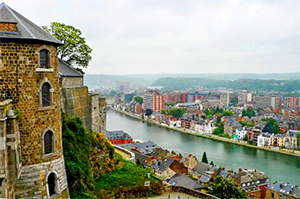 a river below a castle