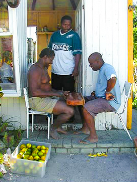 men playing checkers - guide to Caribbean islands