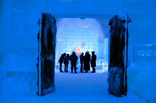 people in a ice hotel in Sweden