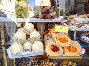 pasteries in a bakery window seen on a Viking cruise