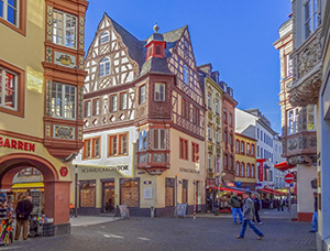 Old timbered German buildings seen on a Viking cruise