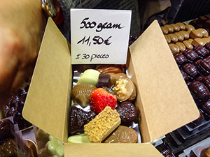 chocolates in a box in Bruges