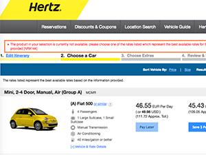 Hertz car rental online
