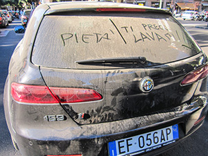 a dirty rental car