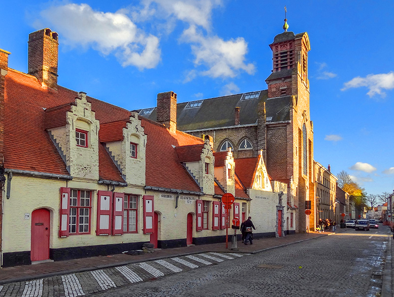 colorful Old World buildings in Bruges