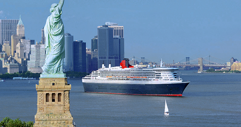 The Queen Mary 2 departing New Yor