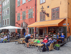 people at a cafe in Sweden in Scandinavia
