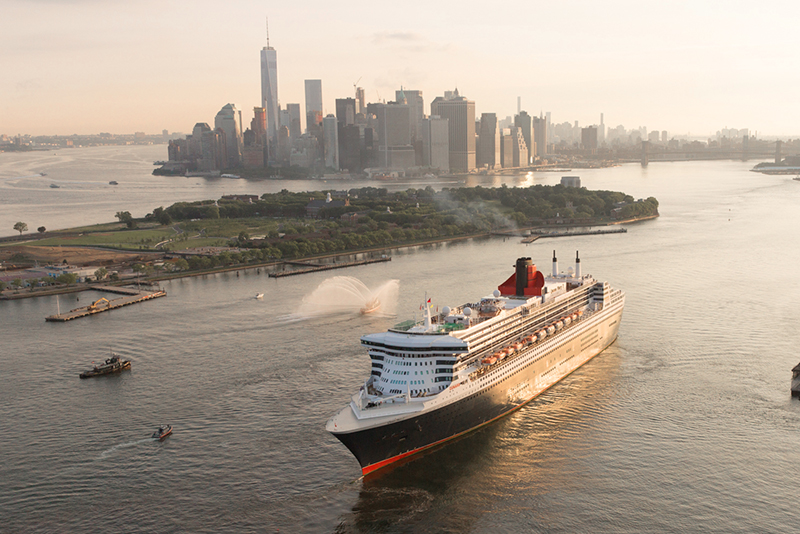 a ship in New York harbor - the Queen Mary 2