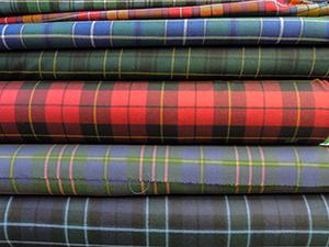 bolts of tratan cloth in Edinburgh, Scotland