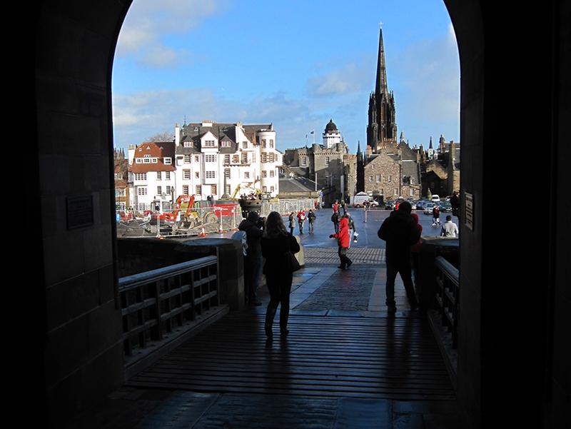 people walking along a street in Edinburgh, Scotland