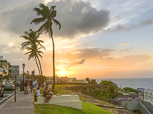 walking along a street at sunset - one of the things to do in Puerto Rico San Juan