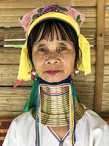 woman with brass rings around neck