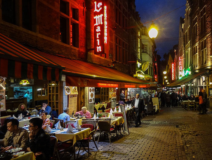 outdoor cafes at night
