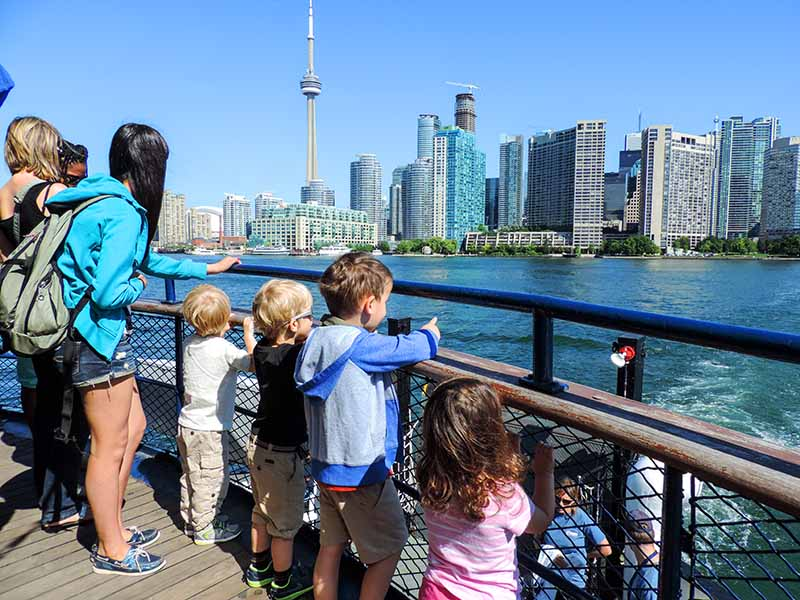 family on a ferry in Toronto